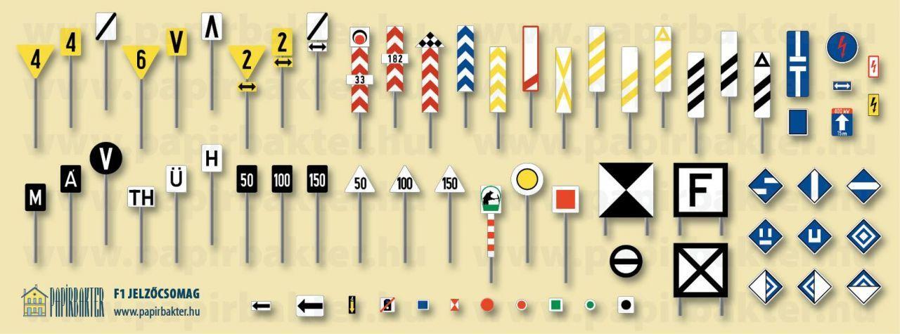 F1 vasúti jelzőtábla készlet (1:45)