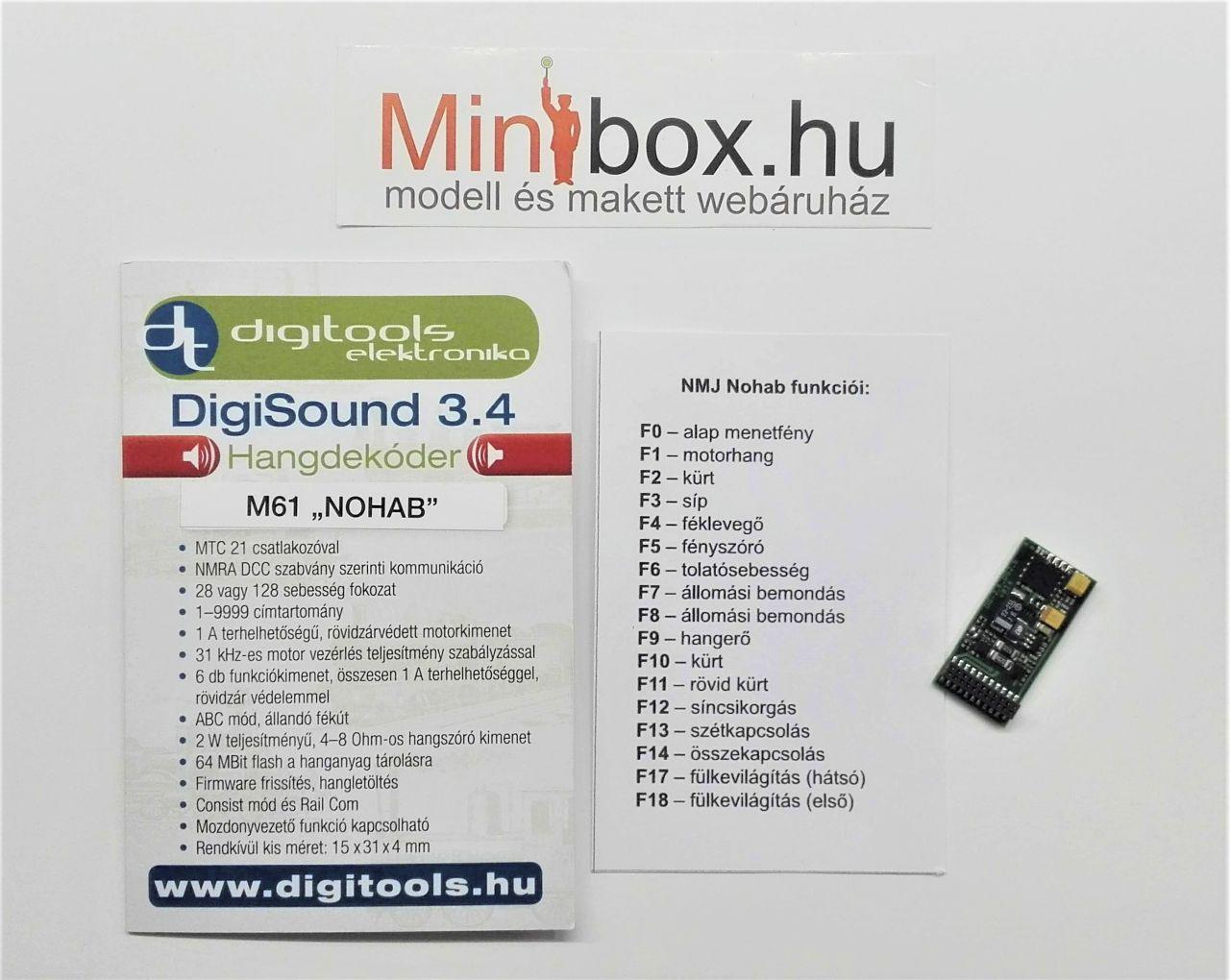 Digitools Digisound 3.4 DCC hangdekóder NMJ MÁV M61 NOHAB dízelmozdonyhoz, MTC 21 tűs