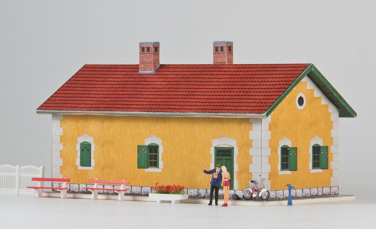 MÁV őrház megállóhely papírmakett (1:87)
