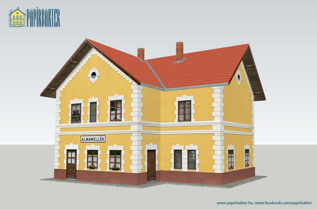 MÁV Almamellék másodosztályú felvételi épület papírmakett (1:87)